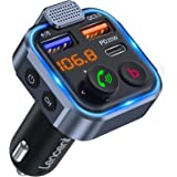 [Versión 2021] LENCENT Transmisor FM Bluetooth 5.0,Manos Libres Reproductor Música Coche, Deep Bass Sonido Hi-Fi, Adaptador R