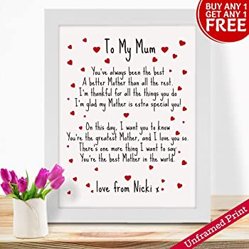 Birthday Christmas Mothers Day Gifts PERSONALISED Mum Mummy And Daughter Son Grandson Granddaughter