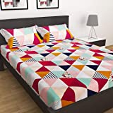 Just Muralidhar & Sons Pure Cotton Double Bedsheet with 2 Pillow Covers for Bed Room, Home, Hotel, (Multi color 25)