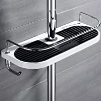 S R SUNRISE Support de douche pour shampooing, après-shampooing, savon, sans perçage, blanc et noir, (corps ABS et bâche…