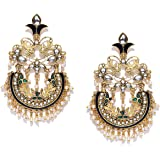 Zaveri Pearls Gold Tone Traditional Dangle & Pearls Drop Earring For Women-ZPFK7245