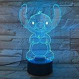 Cartoon Stitch 3D Lampe Chambre Tableau Lumière De Nuit Acrylique Panneau Usb Câble 7 Couleurs Change Touch Base Lampe Enfant