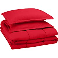 AmazonBasics Easy-Wash Microfiber Kid's Comforter and Pillow Cover Set (Pillow not included) - Full or Queen, Red
