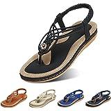 gracosy Womens Sandals Summer Beach Flip Flops Thongs Ladies Bohemian Wedge Shoes Elastic T-Strap Braided Flat Sandals Clip T