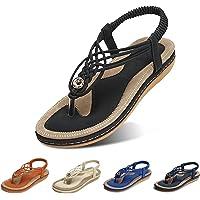 gracosy Womens Sandals Summer Beach Flip Flops Thongs Ladies Bohemian Wedge Shoes Elastic T-Strap Braided Flat Sandals…