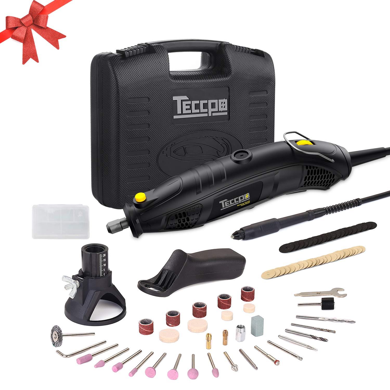 Herramientas Rotativas, TECCPO Professional 170W Amoladora eléctrica, 5 Velocidad Variable 8000-35000RPM, Tamaño de Pinza 0.8mm – 3.2mm, con 80 accesorios – TART04P