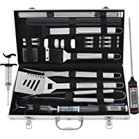 grilljoy 25 pc Accessori Barbecue  Utensili Barbecue in Acciaio Inossidabile con Scatola Regalo in Alluminio Set Completo di Strumento Barbecue di Natale e all  39 aperto Completo di Alta qualit agrave