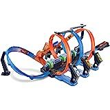 Hot Wheels FTB65 - Action Korkenzieher Crash Trackset und Rennbahn mit 3 Loopings und Beschleuniger für Spielzeugautos, Spielzeug ab 5 Jahren
