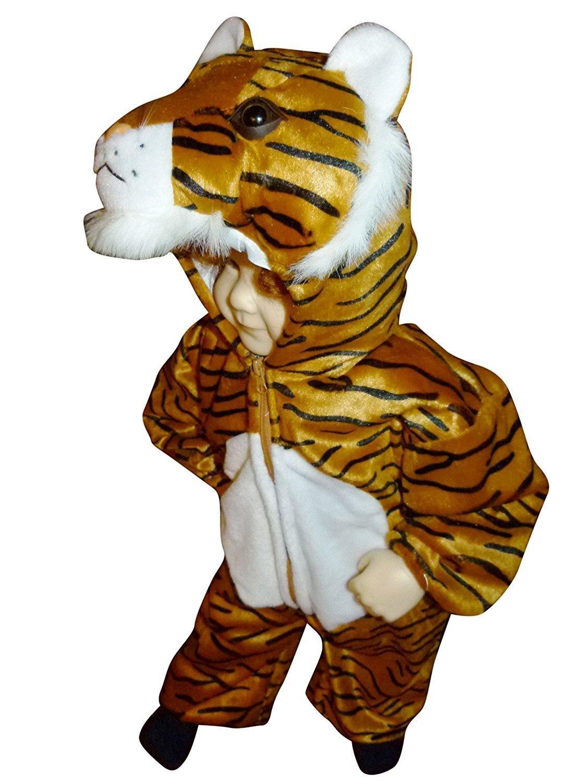 F14 Tamaño 12 meses a 9 años Disfraz de tigre para los niños pequeños y los niños, cómodo de llevar en la ropa normal