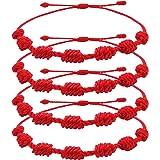 Pack de 4 Pulseras Roja 7 Nudos Amuleto de Hilo Rojo Pulsera de la Suerte y Protección es Unisex, Ajustable que Aporta Buena
