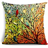 Poens Dream Kissenbezug, Abstract Trees and Birds Cotton Linen Decorative Throw Pillow Case Cushion Cover, 17.7 x 17.7inches