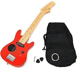 1/4 Kinder E-Gitarre Kindergitarre in Rot Elektrogitarre für ca. 4-8 Jahre + Lautsprecher + Tasche u