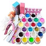 Coscelia Kit 24 pc Gel UV Coloré Faux Ongle Capsules Coupe à Ongle Pinces Limes Brosses Nil art Outils Kit Manucure