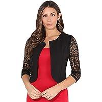 KRISP Women's Elegant 3/4 Lace Sleeve Shrug Evening Jacket