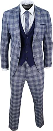 Mens 3 Piece Suit Check 1920s Gatsby Tweed Vintage Blue Classic Wedding Prom