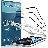 TOCOL 3 Pack Screen Protector Compatibel met iPhone SE 2020 4.7 Inch Gehard Glas Uitlijning Frame 9 H Hardheid HD Clear Besch