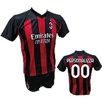 Completo Calcio Maglia Milan Personalizzabile + Pantaloncino Replica Autorizzata 2020-2021 Bambino (Taglie 2 4 6 8 10 12…