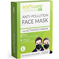 BodyGuard Reusable Anti Pollution Face Mask with Activated Carbon, N95 + PM2.5 for Men and Women - Large (Black)