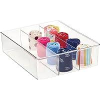 mDesign boîte de rangement avec 3 compartiments – boîte en plastique pratique pour la chambre – caisse de rangement en…
