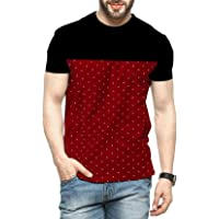 Leotude Men's Cotton Printed Premium T-Shirt Half Sleeve Black Maroon Colour