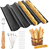 K KUMEED Moulle Baguette Four Moule à Pain Moules à Pâtisserie Plaque à Baguettes Moule pour 4 Baguette Anti-Adhésif Perforé