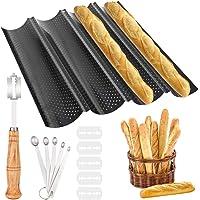 K KUMEED Moulle Baguette Four Moule à Pain Moules à Pâtisserie Plaque à Baguettes Moule pour 4 Baguette Anti-Adhésif…