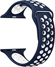 Shopizone Replacement Sports Silicone Bracelet Strap for 42mm Apple Watch Series 1 2 & 3(Blue)