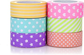 PINDIA Paper Craft Designed Stars Hearts Stripes Roll All Purpose DIY Duct Tape for Gift Wrapping Card Decoration, 1.5cm - Set of 10