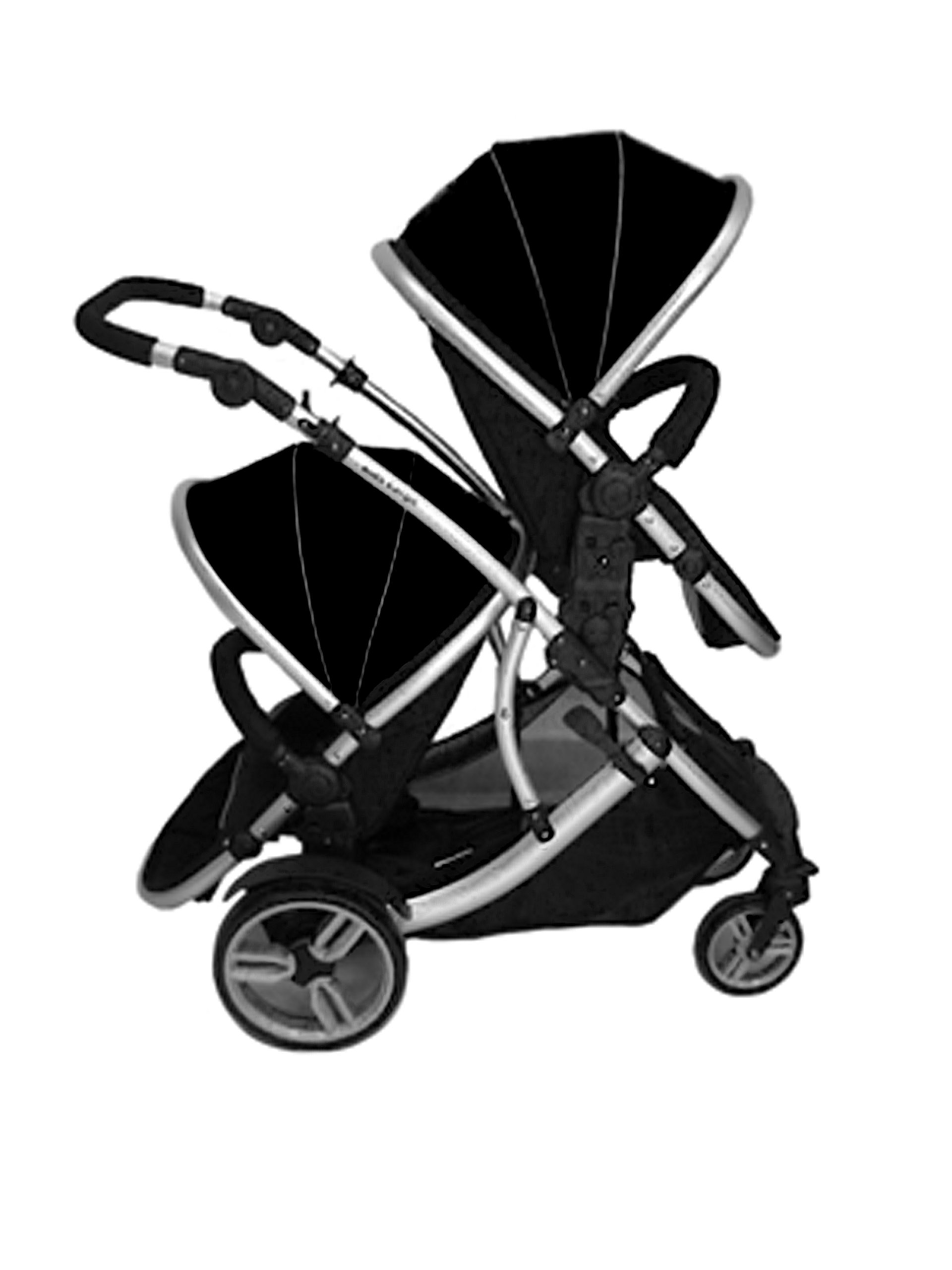 Duellette 21 BS combi Double Pushchair Twin Tandem complete carrycot/converts to seat unit. Free rain covers and 2 free Black footmuffs. Midnight Black by Kids Kargo Kids Kargo Demo video please see link https://www.youtube.com/watch?v=5L8eKWGqoso Various seat positions. Accommodates 1 or 2 car seats Carrycot converts to seat unit incl mattress. Toddler seat from 6 months 7