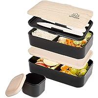 Umami Lunch Box Noir Bambou | Bento À 2 Compartiments Hermétiques, 3 Couverts Solides Et 1 Pot À Sauce | Passe Au Micro-Ondes Et Au Lave-Vaisselle | Durable, Sain & Design | pour Adultes Et Enfants