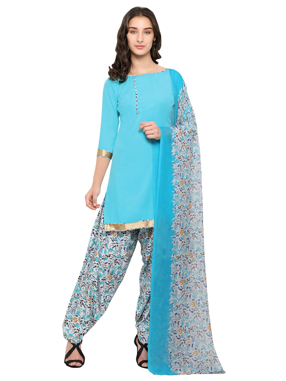 Kanchnar Women's Crepe Saree With Blouse Material (620D18003 _Blue And White_ Free Size)