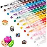 RATEL Peinture Acryliques Stylos, 12 Couleurs Marqueur Peinture Acrylique Premium Permanent Feutre Acrylique Stylo Peinture A