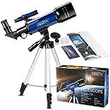 EMARTH Telescopio per bambini principianti adulti, 70mm telescopio rifrattore astronomico con treppiede regolabile e…