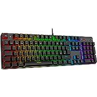 havit Mechanische Gaming Tastatur, QWERTZ Tastatur (Deutsches Layout) mit roten Schaltern, Mechanische Tastatur für PC…