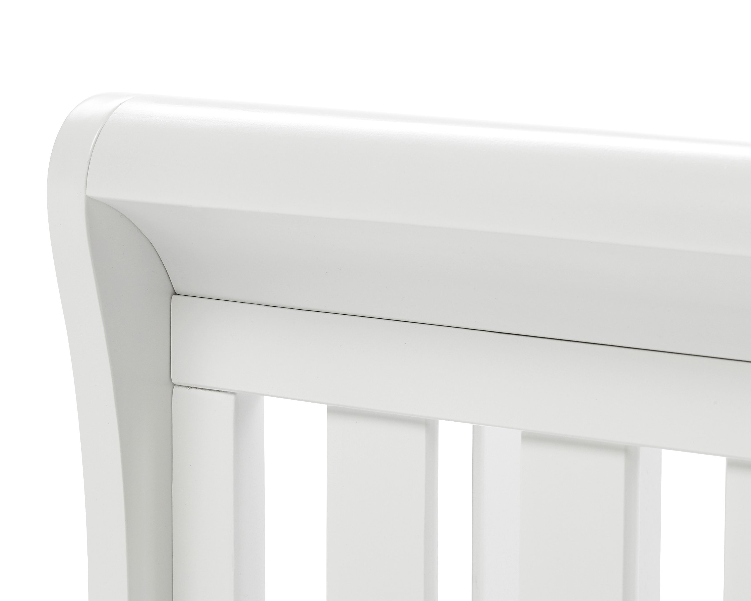 Babymore Eva Sleigh Cot Bed Dropside with Drawer (White Finish) + FOAM MATTRESS  Easily convert to junior bed/sofa/day bed, Meet British and European safety standards; Single handed drop side mechanism allow easy access to your baby Protective Teething rail on top of both sides. Full drawer on runner provide extra storage 9