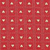 Fabulous Fabrics Weihnachtsstoff Herzchen – Karminrot — Meterware ab 0,5m — Oeko-Tex Standard 100 — zum Nähen von Outdoor-Deko, Tischdekorationen und Kissen und Tagesdecken
