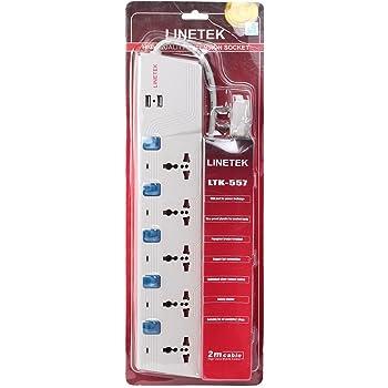 Linetek Power Extension Board 5 socket with USB port 2meter lenth Ltk-557