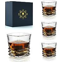 Lot de 4 verres à whisky 300 ml - Verres à whisky irlandais de luxe pour bourbon Scotch Cognac - Coffret cadeau parfait…