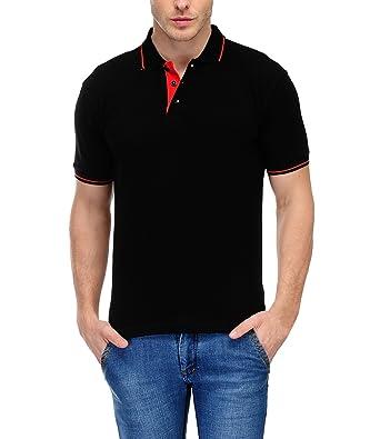 Scott Men's Premium Organic Cotton Polo T-shirt - Black: Amazon.in ...