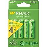 GP Batteries Recyko+ 2700 Series AA Kalem Ni-MH Şarjlı Pil, 1.2 Volt, 4'lü Kart, 2600 MAh, Yeşil/Siyah