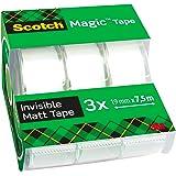 Scotch Magic Tape, Rouleaux de Ruban Adhésif Transparent avec Dévidoir, Lot de 3, Ruban de 7,5 mm x 3 mm - Idéal pour le Bure