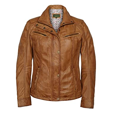 Kelly: Ladies' Tan Leather Jacket: Amazon.co.uk: Clothing