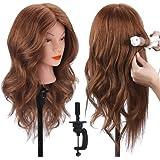 """18"""" Tête à coiffer 100% Cheveux Naturel Vrai Cheveux Humains Mannequin Tête Formation Coiffure avec Support + Ensemble…"""