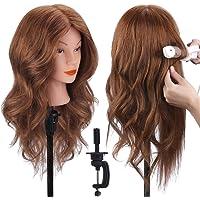 """TopDirect 18"""" 100% veri capelli Testina Parrucchiere Testa Studio Parrucchiere Manichino Cosmetologia Formazione…"""