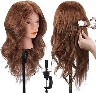 """18"""" Tête à coiffer 100% Cheveux Naturel Vrai Cheveux Humains Mannequin Tête Formation Coiffure avec Support + Ensemble de Tresse 46cm par TopDirect"""