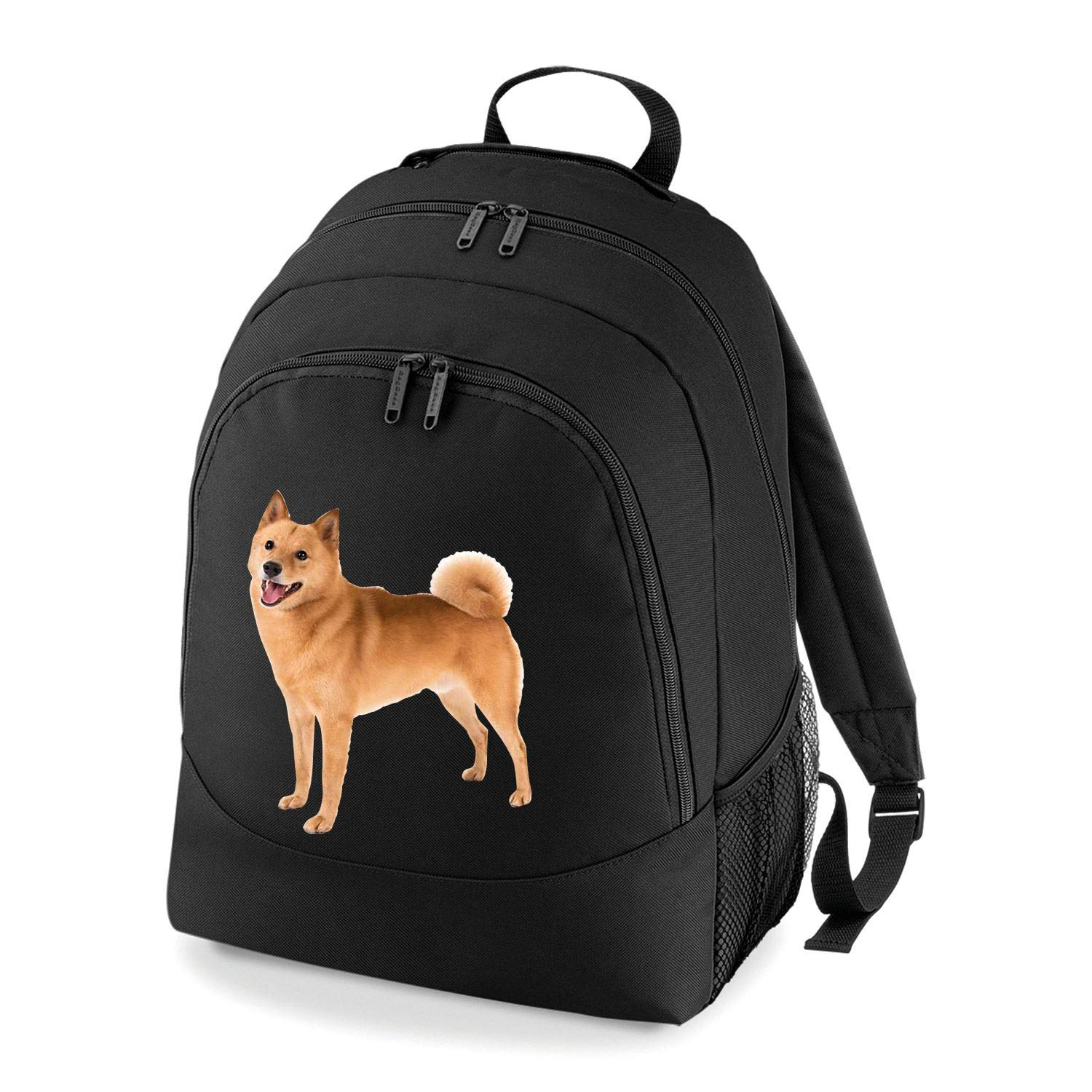 Taurus Clothing Finnish Spitz Dog Personalised Embroidered Rucksack Black