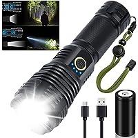 Torcia LED Potente Professionale 10000 Lumen, Torcia LED Ricaricabile XHP70.2 Estremamente Luminosa, IP55 Impermeabile 5…