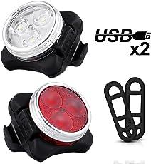 Nasharia Fahrradlicht LED Set, USB Wiederaufladbare LED Fahrradbeleuchtung Set, Fahrradlampe Set inkl mit 4 Licht-Modus, Wasserdichte Frontlicht und Rücklicht, Lithium Akku Aufladbare Fahrrad Lichter