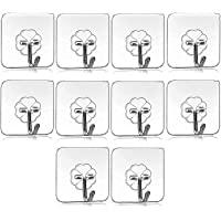 Wazdorf Pack of 10Pcs Self Adhesive Wall Hooks, Heavy Duty Sticky Hooks for Hanging 10KG (Max), Waterproof Transparent…