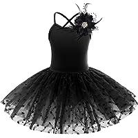 IWEMEK Kids Toddler Girls Hot Drilling Swan Leotard Ballet Dance Tutu Dress Sleeveless Feathers Printed Ruffle Tulle…